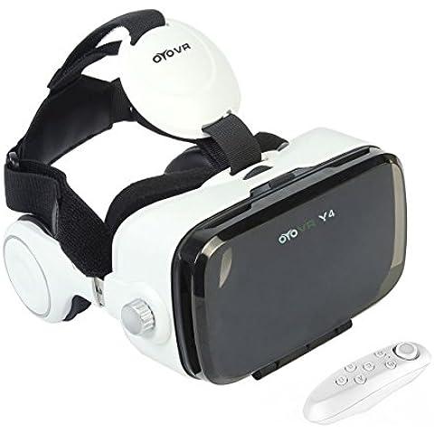 Uvistar Gafas VR 3D con Remoto Controlador Auriculares VR 3D Realidad virtual Caja con Ajustable Lente y Correa for iPhone Android / IOS etc 4.7-6.0 inch Universal 3D VR Realidad Virtual Gafas de video 3D Películas (OYOVR
