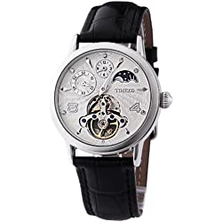 Time100 Unisex Sun&Moon Phase Skeleton Dual Time Luminous Automatic Mechanical Watch #W60011M.01A