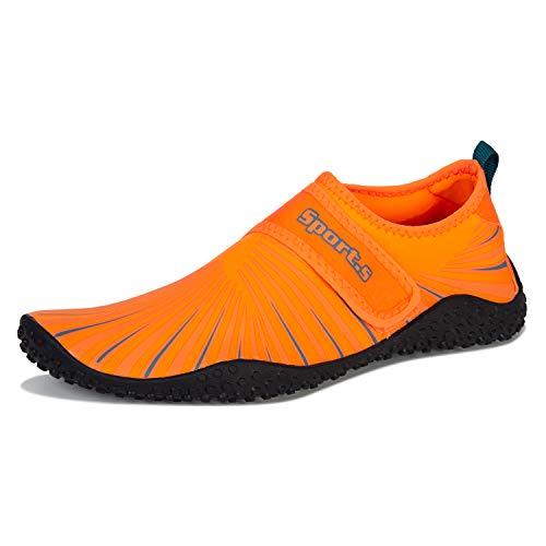 Badeschuhe Herren Damen Barfußschuhe Wasserschuhe Schwimmschuhe Strandschuhe für Surfen,Tauchen,Bootfahren,Gymnastik Fitness (S9999 Orange, 46EU)