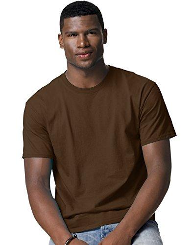 hanes-herren-asymmetrischer-t-shirt-braun-dark-chocolate-xxl
