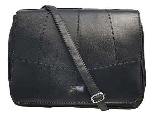 Cross Body Schultertasche - Schwarze Damen Leder Handtasche Leder - 6 Innentaschen - Deckel mit Magnetverschluss - Verstellbarer Schultergurt - Designer Handtasche von Quenchy London Lorenz - QL975