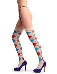 Argyle Beige, Blue & Red - Multicolore Opaque Chaussettes Montantes Taille Unique (37-41)