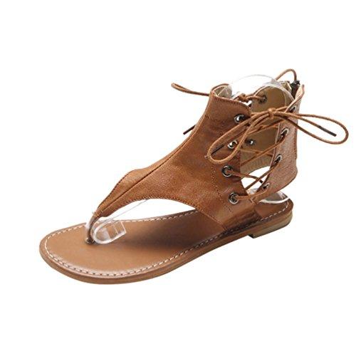 Dexinx Estate di Charme Donne Elegante Alta Caviglia Sandali delle Signore Merletto di Colore Solido Attraente up Scarpe da Spiaggia Giallo 43