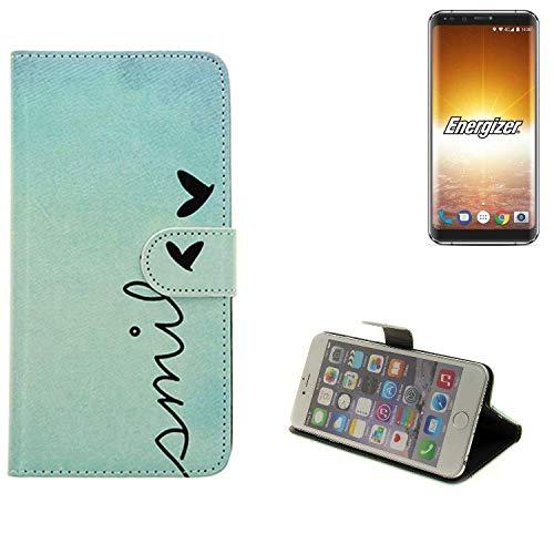 K-S-Trade® Für Energizer P600S Hülle Wallet Case Schutzhülle Flip Cover Tasche Bookstyle Etui Handyhülle ''Smile'' Türkis Standfunktion Kameraschutz (1Stk)