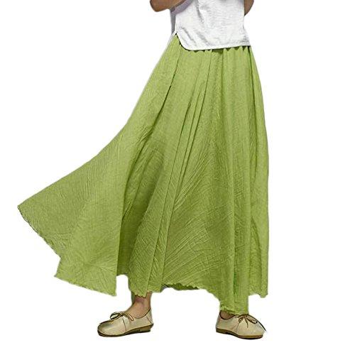 Donna Gonna Lunga Vestito Bohemian Cintola Elastica Lino Cotone Vintage Maxi Gonna Erba verde