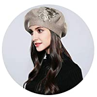 Aooaz Faux Rabbit Hair Hat Knitting Flower Pattern with DrillingWomens Hat Coffee Length 56-58CM