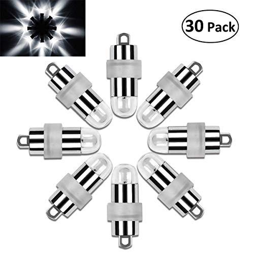 Vanble 30 LED-Ballons Lichter Wasserdicht Beleuchtung für Papierlaternen Ballons Blumendekoration, Nicht-blinkend, Wasserfeste, Weiß [Kaltes Weiß] -