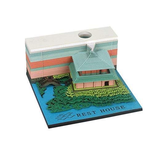 Box Pavillon (Healifty 3D Sticky Notizzettel Boxen Carving Kleine Brücke und Pavillon Form Haftnotizblock Haftnotizwürfel Repositionierbar Haftnotizen für Kenntnis Nachricht (Grün))