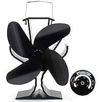 Signstek 4 palas Ventilador de Estufa - Ventilador de Chimenea con Termómetro, Funcionamiento silencioso automático, Para Estufas, Estufas de Leña y Chimeneas