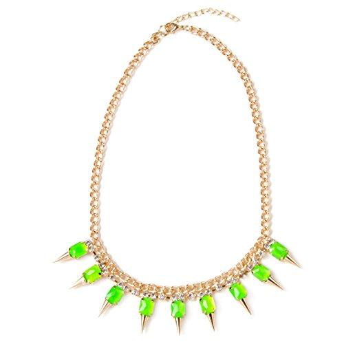 schmücken Ava Gold Neon Grün Statement Juwel Strass Spike Halskette Halsband BRIGHT