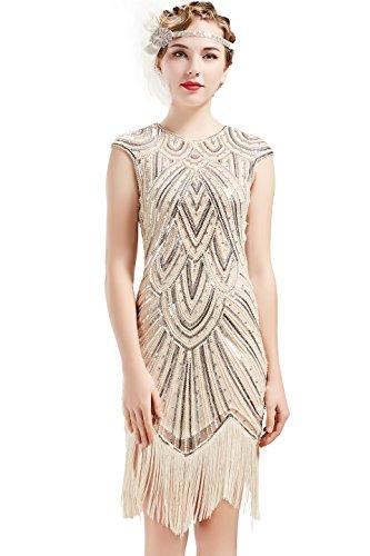 BABEYOND Damen Kleid voller Pailletten 20er Stil Runder Ausschnitt Inspiriert von Great Gatsby Kostüm Kleid  (L (Fits 76-86 cm Waist & 94-104 cm Hips), Beige Strass) (Retro Inspirierte Kostüm)