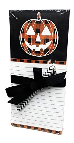 Halloween-Notizblock, Motiv Kürbis, kariert, mit Stift und magnetischer Rückseite, Geschenk-Set