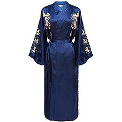 Kimono japonais femme bleu et dragon doré - taille : XL