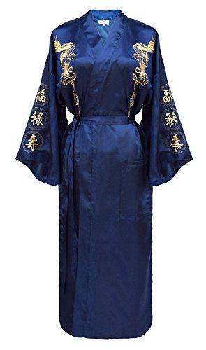 Damen Morgenmantel chinesischer japanisher Kimono blau M
