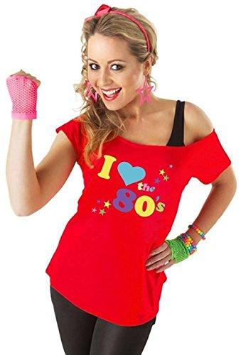 Verrückte Mädchen Frauen Ich Liebe die 80er Jahre T-Shirt mit kurzen Ärmeln Damen Retro Pop Star Tees Top EU 36-46 (EU48/50-XXL, Rot)