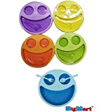 Cute And Attractive Round Multicolor Smiley Face Plates Dish With Fork And Spoon / Doodle Plate / Breakfast Plates / Baby Fun / Return Gift / Birthday Gifts (Not Toxic Hygienic Plates) || By BigMart™ || (PACK OF 5)