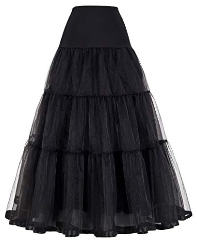 NVDKHXG Frauen Voile Röcke Double Layer Retro Vintage Krinoline Petticoat Unterrock einfarbig hohe Taille Maxirock Damen Rock XL schwarz - Double-layer-chiffon-rock