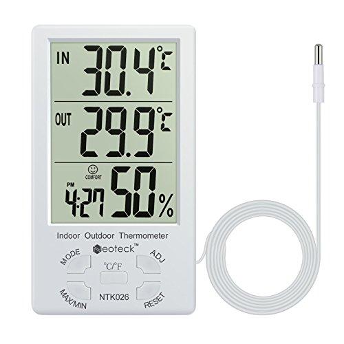 Neoteck Digitales Thermo Hygrometer Thermometer Feuchtigkeitsmesser Wetter thermometer Innen und Außen MAX MIN Messung der Temperatur und Luftfeuchtigkeit mit LCD Display und Sensorkabel für Klimaanlagen, Büro, Hotel, Krankenhaus, Labor und Zucht