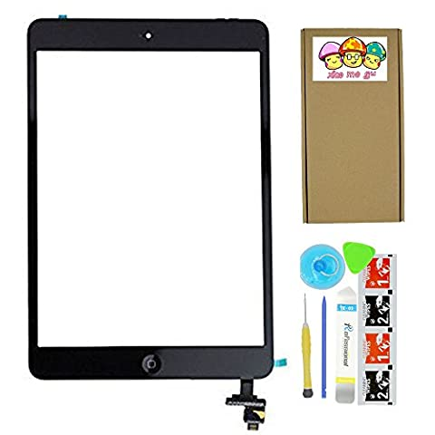 XIAO MO GU Black Replacement Screen Touch Screen Digitizer For iPad Mini1 &2 With IC Chip Home Button and Flex Cable Assembly+Tool kit