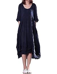 ACHIOOWA Damen Kleider Kurzarm Sommerkleid Maxi Boho Retro Kaftan Oversize  Tunikakleid Abendkleid Cocktail Lange Kleider 1e964826e7