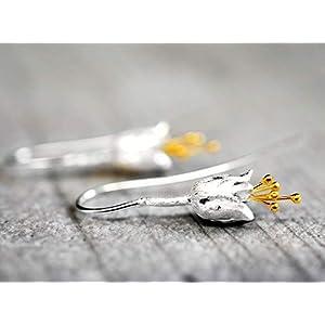925 Sterling Silber Glockenblumen Ohrringe Bicolor & Schmuckschachtel