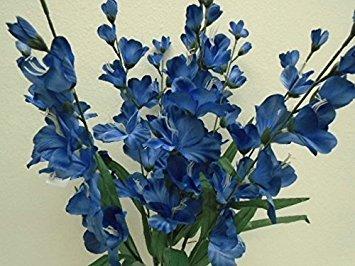 Dunkelblau Gladiolen Bush Künstliche Blumen, Seide, 63,5cm Bouquet 9–8009rbl