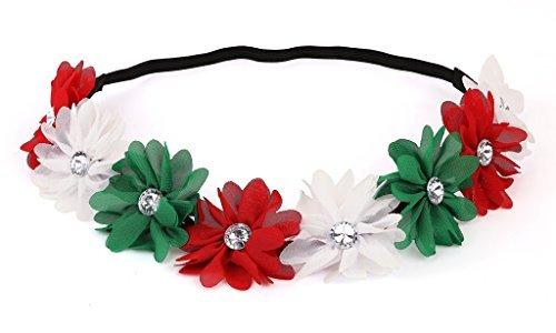 hts Urlaub Weihnachten Stirnband–Weiß Grün Rot Floral Crown (Kleinkind-partei-bevorzugungen)