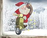 TinyFoxes Fensterbild Weihnachtsmann auf Moped - Wiederverwendbare Deko für die Festtage