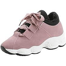 Zapatillas De Running Pareja Mujer con Plataforma De Cordones De Cuero Y Terciopelo.