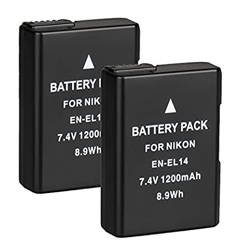 BPS 2x EN-EL14 EN-EL14a Li-ion Battery for Nikon D3100 D3200 D3300 D5100 D5200 D5300 D5500 DSLR Camera, Nikon Battery Grip BG-2G, Nikon Battery Charger MH-24