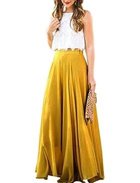 LILICAT Mujeres Patinador Chiffon Flared plisado alta cintura Maxi vestido estiramiento falda larga (Amarillo,...