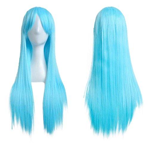 FNKDOR 80cm Perücke Lange Gerade Cosplay Party Kostüm Haarteile (Blau)