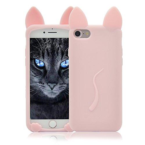 iPhone 6 Silikon 6S Hülle Katze Ohr,Sunroyal iPhone 6 6S Muster TPU Case Schutzhülle Silikon Crystal Case Durchsichtig, Bunt Rosa Pink Cat Katze Tail Schwanz Muster Luxus Kristall Crystal Transparent  Rosa