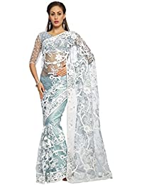 Designersareez Women Net Embroidered Light Sky Blue Saree with unstitched blouse(1477)