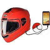 Steelbird SBA-1 7Wings Handsfree Dashing Helmet For Ladies/Girls with Detachable Handsfree device (Large 600 MM, Red with plain visor)