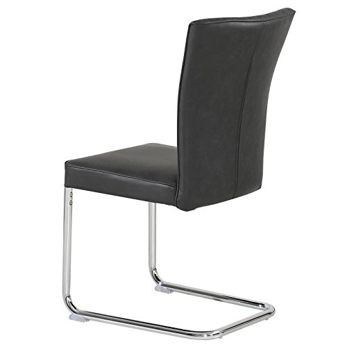 CARO-Möbel 4er Set Esszimmerstuhl Küchenstuhl Schwingstuhl Beverly, aus Wildlederimitat in schwarz, Metallgestelll in Chrom, im Vintage Stil - 3
