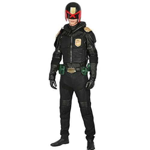 Halloween Cosplay Costume Judge Fancy Dress Outfit with Helmet Men Deluxe Black PU Uniform for Halloween Clothing