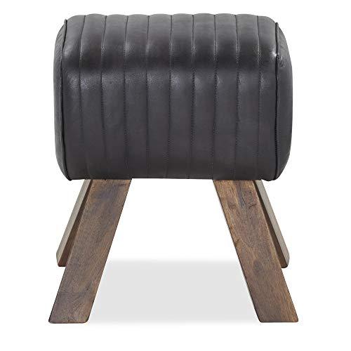 Hocker schwarz Leder Ziegenleder Füße Holz massiv Mangoholz braun Bock - Cawalet