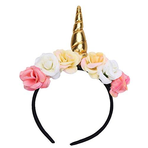 iEFiEL Einhorn Kostüm Haarreif Baby Kinder Haarreif Haarband Kopfschmuck für Party Karneval & Fasching & Halloween Gold One Size