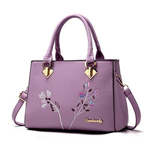 21Club Marke Blumen Dekoration Totes Frauen Floral Niet Handtasche Hotsale Lady Fashion Handtasche Messenger Crossbody Umhängetaschen Purple One Size