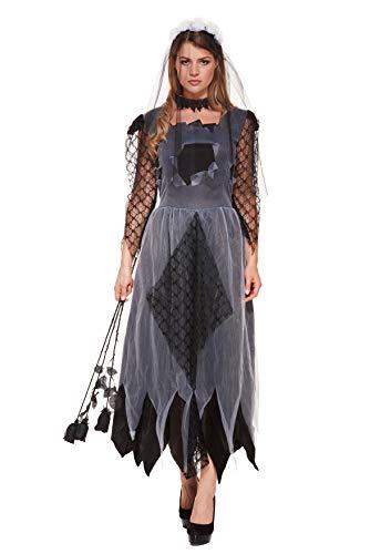Emmas Garderobe Zombie-Braut-Kostüm für Erwachsene - Be Halloween Corpse Bride - UK Größe 8-14 (Women: 36, Dark)