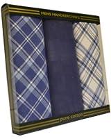 Mens/Gentlemens 3 Pack Handkerchiefs, Check & Stripe Print, Various Colours