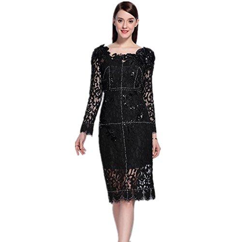 SHISHANG Robes pour femmes Robe en dentelle 55% coton + 45% nylon Col manches longues ronde d'été Noir Black