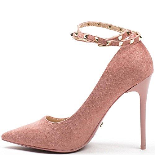 Ideal Shoes - Escarpins effet daim avec bride cloutée Ninia Rose