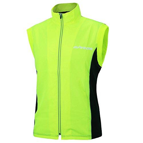 AIRTRACKS Funktions Laufweste Pro / Running Vest / Fahrradweste / Radweste / Leichte Wind Weste – neon – S