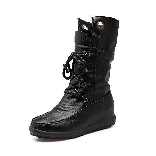 WYWQ Donna Wedge Martin Boots Cinghie incrociate Mid Tube Boots Grandi dimensioni 40-44 metri Autunno e inverno Dopo Lace Up black