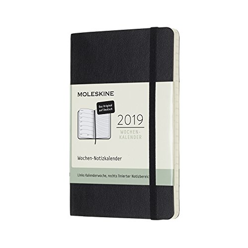 (Moleskine Wochen Notizkalender (12 Monate, 2019, Deutsch, mit Feiertagen und Ferientagen für Deutschland/Schweiz/Österreich, Pocket/A6, Soft Cover) Schwarz)