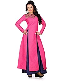 S R Fashion Womens Indo-Western Party Wear Pink Banglori Silk Stylish Top With Plazzo For Girls (SRF_2203 (Pink...
