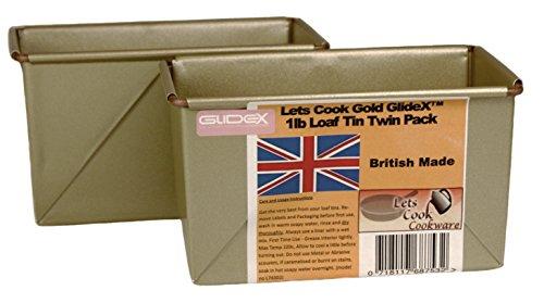 Traditionelles Bauernhaus (Lets Cook 1LB Traditionelle Bauernhaus Laib-Dosen, Doppelpackung, Box Style, Hand Made, britischen, die mit Gold GlideX Antihaft® TM)