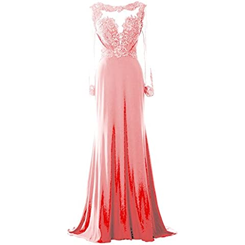 MACloth Women Long Sleeve Beaded Lace Mother of Brides Dress Formal Evening Gown (EU50, Blush Pink)